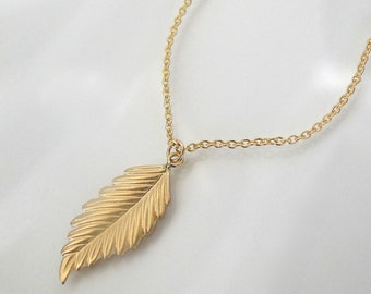 Leaf Necklace - As Seen on Courtney Cox  And Jennifer Aniston- 14K Gold Filled