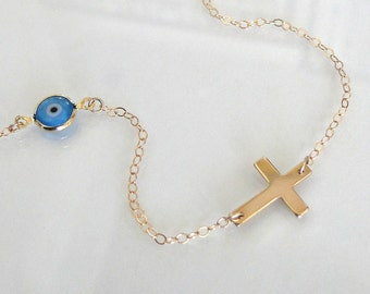Sideways Cross Necklace With Evil Eye 14K Gold Filled
