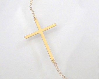 Sideways Cross Necklace - 14K Gold, Thin And Sleek, Kelly Ripa Style - 14k Yellow, White, or Rose Gold