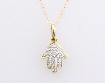 Hamsa Hand Necklace - 14K Solid Gold And Diamond Necklace For Protection - White Gold or Rose Gold