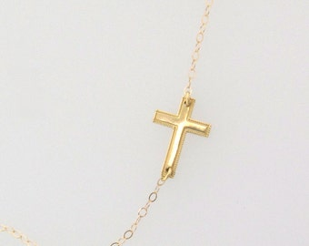 Tiny Sideways Cross Necklace - 14K Yellow Gold or White Gold Horizontal Cross, Jennifer Lopez Style