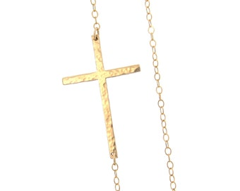 Sideways Cross Necklace, Off Center - Long, Sleek, Smooth or Hammered, 14K Gold Filled, Rose Gold Filled or Sterling SilverKelly Ripa
