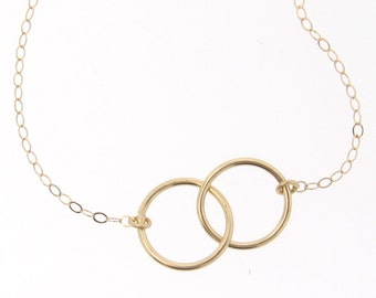 Interlocking Circles Necklace - Small 9mm 14K Yellow or White Gold