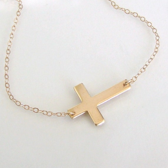 Sideways Cross Necklace - 14K Gold Filled Horizontal Cross - Dual Finish, Handcrafted by Theresa Mink