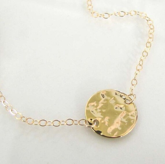Femme- Ultra Feminine, 14K Gold Filled or Sterling Silver Dainty Shiny Hammered Circle and Cable Chain Necklace
