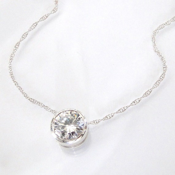 Diamond CZ Solitaire Necklace - Sterling Silver, As Seen On Kelly Ripa - Cubic Zirconia
