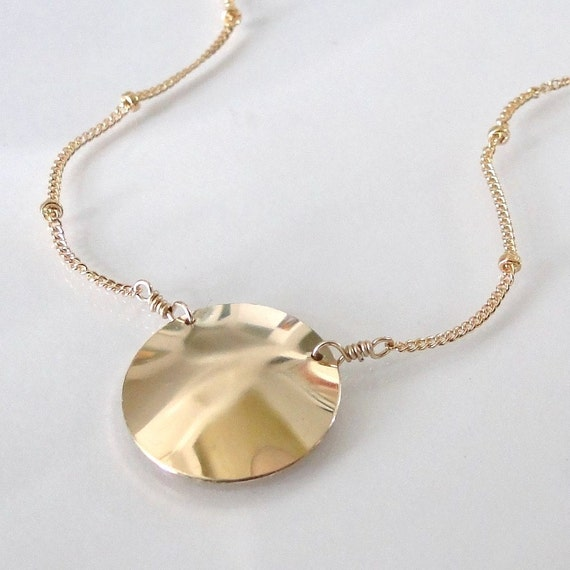 Gold Disc Necklace - Celebrity Jewelry, 14K Gold Filled Domed Disc, Satellite Chain Necklace