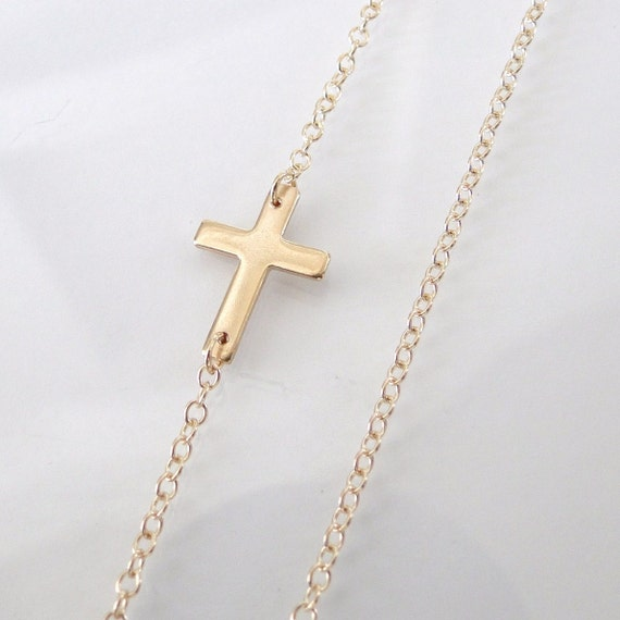 """Audrina Patridge Long Sideways Cross 32"""" Necklace- 14K Gold Filled, Handcrafted by Theresa Mink"""