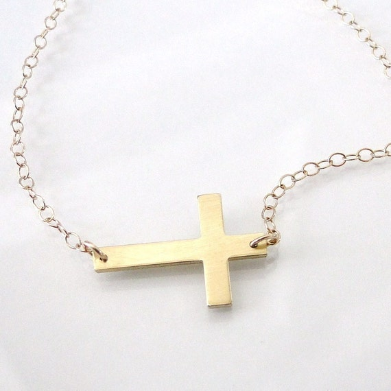 14K SOLID Gold Small Sideways Cross Necklace - 14K Yellow or White Gold, Handcrafted by Theresa Mink