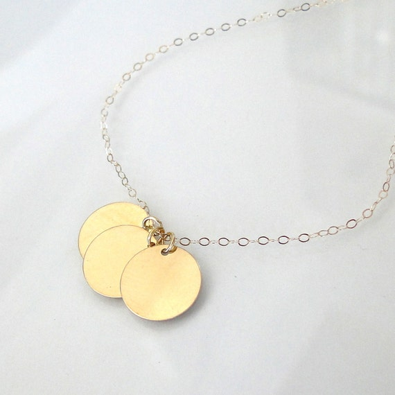 "Reserved For Kathryn - 20"" 14K Solid Gold Three Circle Disc Necklace - 11mm Circle Drops Can Be Engraved"
