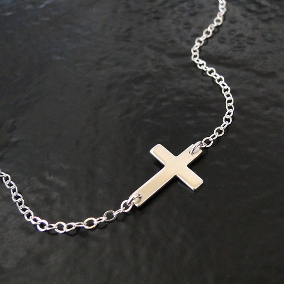 Sideways Cross Necklace, Small Horizontal Sterling Silver Cross By Classic Designs on Etsy