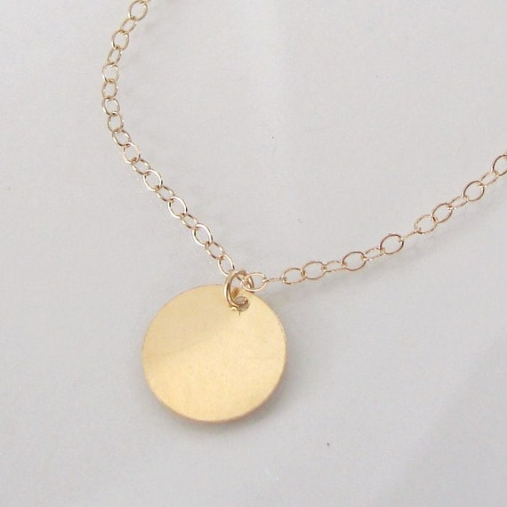 14K SOLID GOLD Engrave-able Disc Necklace - Golden Bauble