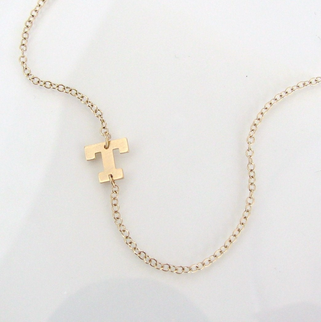 Sideways initial necklace 14k solid gold initial by for 14k gold letter necklace