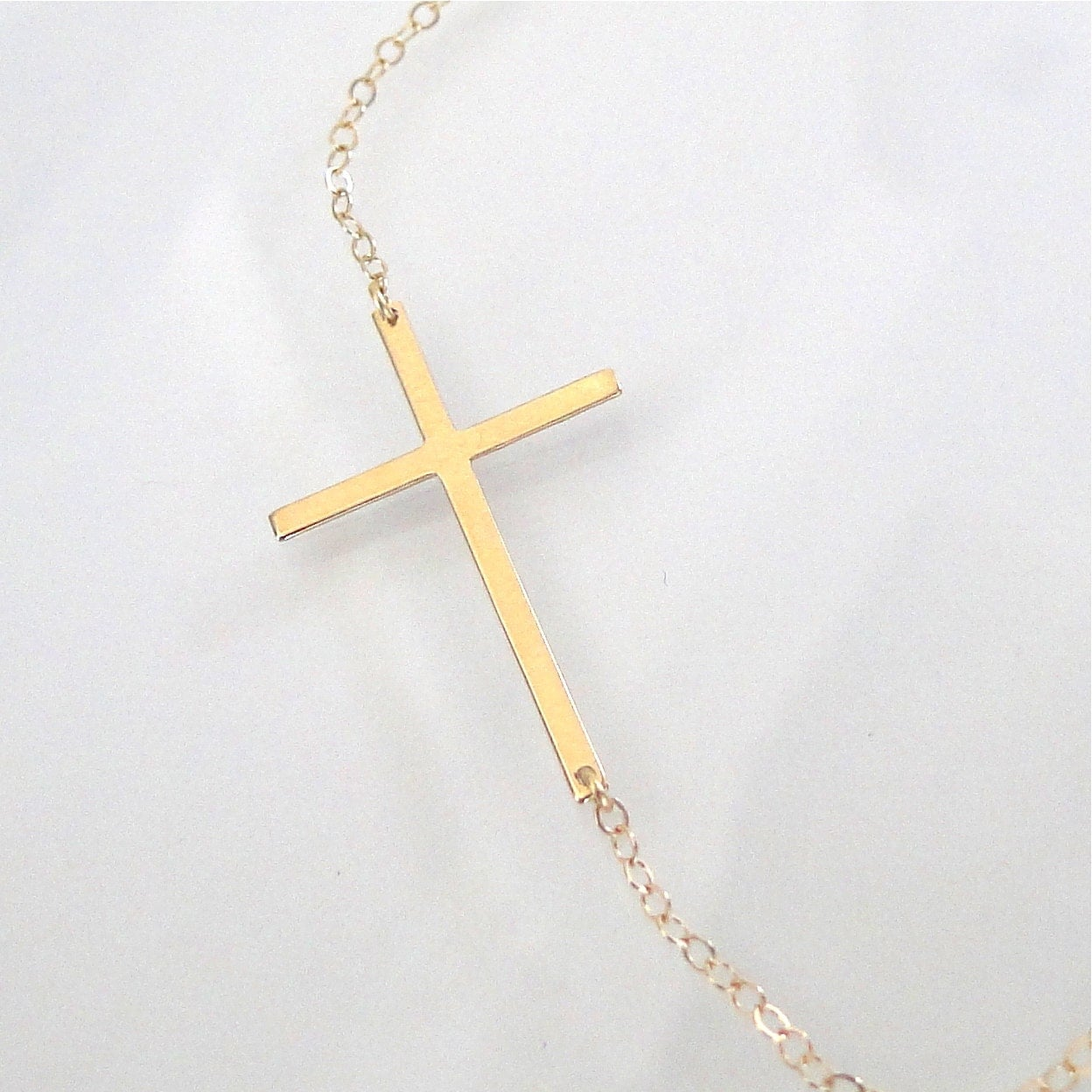Sideways Cross Necklace 14k Gold Thin And Sleek Kelly Ripa
