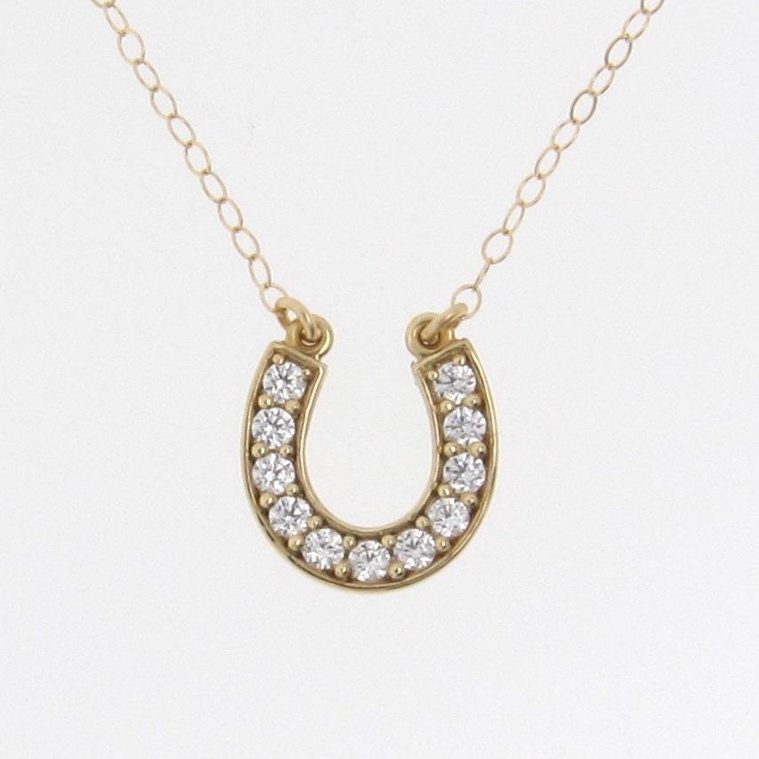 lucky horseshoe necklace 14k solid gold cubic by
