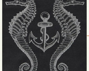 Unisex size Extra Large Victorian Anchor and Seahorse tee in black