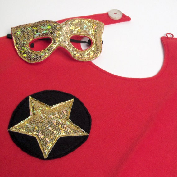 Super Hero Cape and Mask - Red and Gold (WOWR020912-4R)