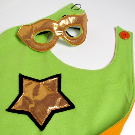 Super Hero Cape and Mask - Lime Green and Orange (WOW032812-3R)