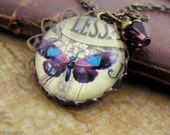Vintage Inspired Butterfly Charm Necklace