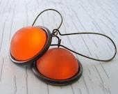Modern Lucite Dangle Earrings. Pumpkin Orange