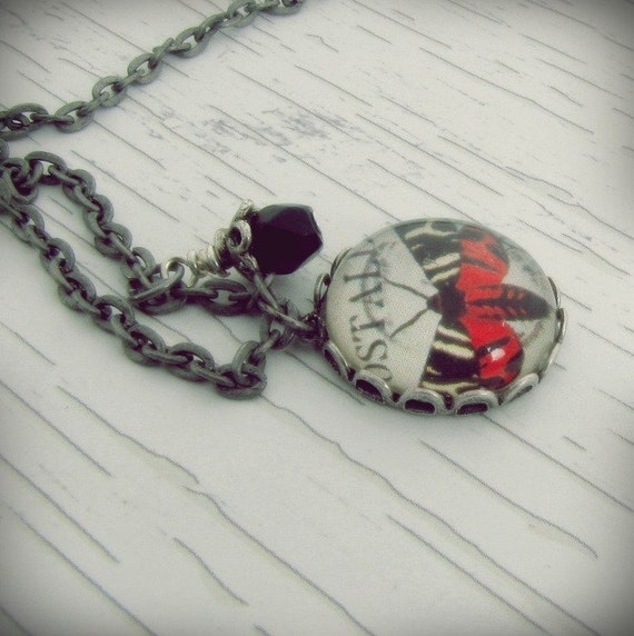 Vintage Moth Collage...Charm Necklace