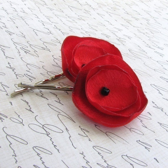 Red Fabric Flower Bobby Hair Pins