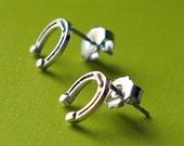 Lucky Horseshoe Sterling Silver Stud Earrings