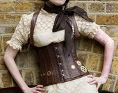 Steampunk machined cogs leather corset
