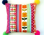 Pom Pom and Patchwork - Kitsch Retro Bright Pillow / Cushion Cover - Orange, Pink, Lemon and LIme
