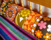 Long Vintage Fabric Patchwork Pillow / Cushion Cover - Extra long bolster style oblong - Flower Power Orange