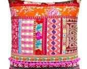 Ethnic Retro Patchwork Cushion / Pillow Cover - Stunning Unique OOak Art Pillow