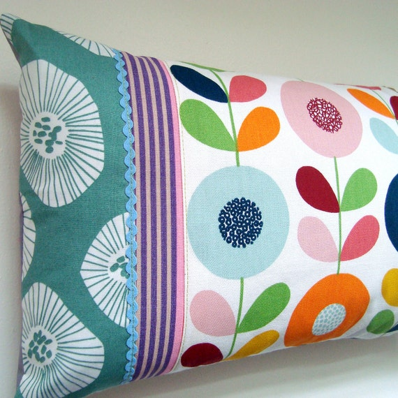 Contemporary Oblong Patchwork Pillow / Cushion Cover - Scandinavian Mod Floral Style Summer Stripes