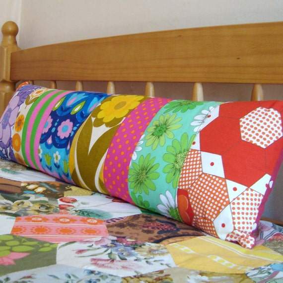 Long  Vintage Patchwork Pillow / Cushion Cover - Extra long bolster style oblong - Bright Mod Vintage Fabrics