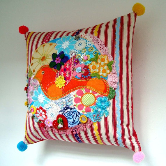 Art Pillow / Cushion - Unique Bird and Blossoms Embellished Ooak Decorative Cushion