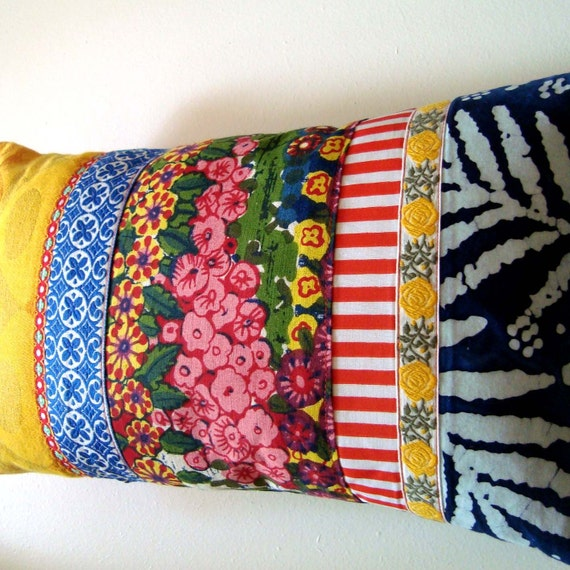 NEW - Gorgeous designer patchwork pillow / cushion cover - Stunning fabrics, lace and ribbons