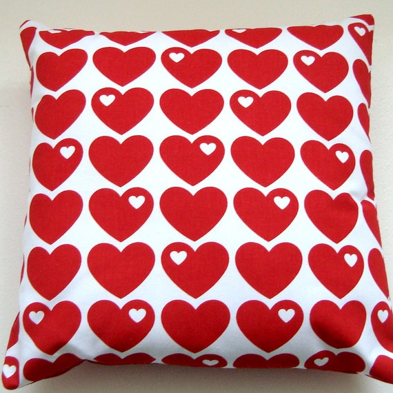 Bright Red Hearts Retro Pillow / Cushion Cover