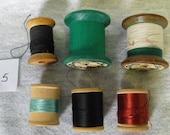 6 Vintage Assorted Wooden Spools - 1 Penimaid Silk Thread - 1 Nylon Thread