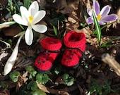 Ladybug Baby Booties - Hand Knitted