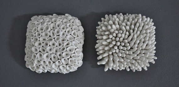 Pair Textured Porcelain Micro Tiles - Modern 3D Ceramic Wall Sculpture Installation Modern Organic Decorative