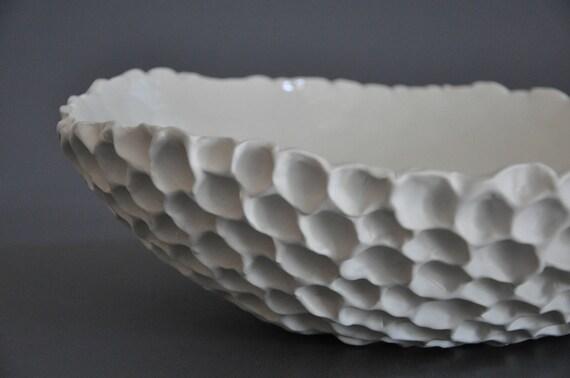 "SALE - Porcelain Coral Sculpted Serving Bowl (13"") - Sea Shell Beach Coastal Decor Modern"