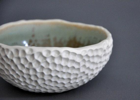 SALE - Lagoon Hive Textured Bowl - Porcelain Dish White Green Blue