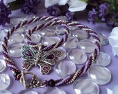 Handwoven Purple Spiral Stitch Beaded Butterfly Necklace by Fivefootfury13