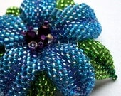 Handmade Blue Glass Bead Flower Hair Clip Woven by Fivefootfury