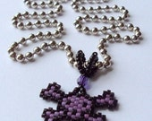 Handwoven Purple Beaded Skull Necklace made with Delica glass beads