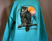 1989 Teal Blue Vintage Night OWL & MOON print long sleeve Sweatshirt  - L
