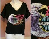 Vintage 90's HARLEY Davidson Eagle Print Women's Black BIKER t-shirt