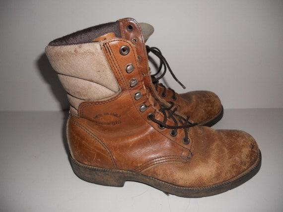 Vintage Brown Leather Work Boot Georgia Steel Toe Industrial