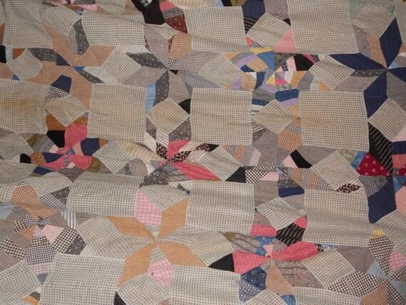 Quilt Bedspread stars COVERLET one side vintage 40s 50s ANTIQUE cotton Patchwork coloful textile