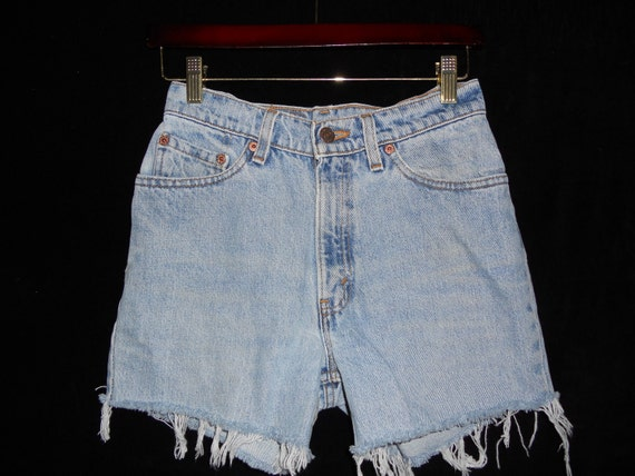 VINTAGE LEVIS Jeans USA Cut Off Denim Jean Shorts High Waisted Frayed distressed