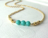 Gold Necklace / Turquoise Vintage Glass Beads Necklace